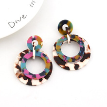 Women Unique Round Geometrical Element Colorful Acrylic Earrings Fashion Jewelry Vintage Statement