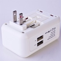 WONJE CH 127 3 Universal Charger Multi Function Conversion Socket 2 USB Charger Travel Portable Adapter
