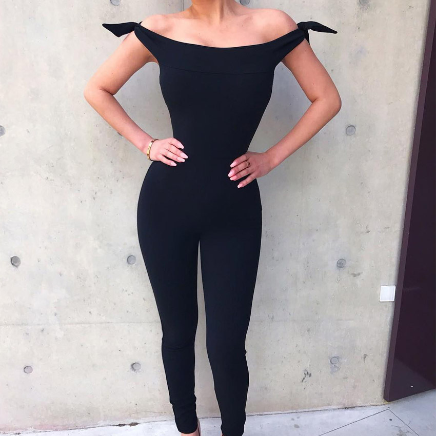Spring Women Jumpsuit Fashion Off Shoulder Knot Tie Body Rompers Slash Neck Sleeveless Sexy Woman Rompers Black Overalls WS5461W