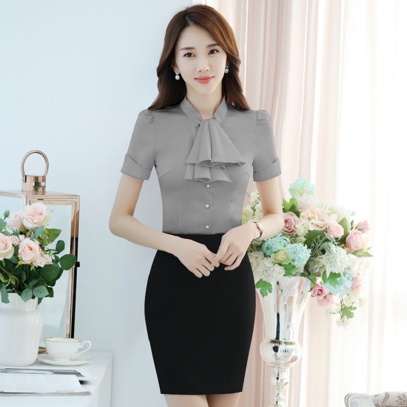 Fashion Slim Fit Formal Short Sleeve Business Suits With 2 Piece Tops And Skirt For Ladies Office Elegant Beauty Salon Outfits