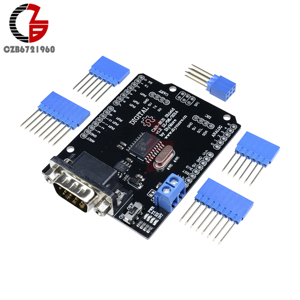 DC 5-12V MCP2515 CAN BUS Shield Board SPI Interface 9 Pins Standard Sub-D Connector Expansion Module For Arduino Seeeduino 5v 2 channel ir relay shield expansion board for arduino