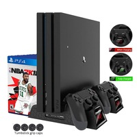 DOBE PS4 Slim /PS4 Pro/PS4 Vertical Stand 3 Cooling Fan Cooler with LED Indicators Dual Charging Charger Station for Dualshock 4