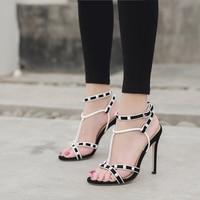 Odinokov T strap Heels Peep Toe Party Pumps Buckle Strap Summer Novelty African Women Shoes Gladiator Sandals Women