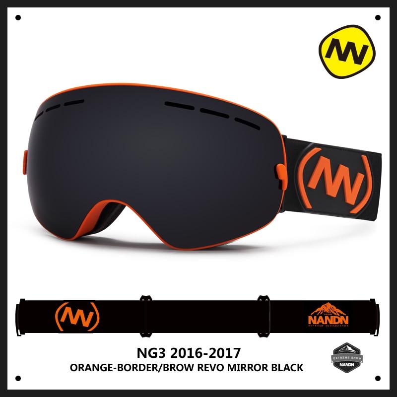 NANDN Brand Ski Goggles Double UV400 Anti-Fog Ski Glasses Mask Skiing Men Women Snow Eyewear Snowboard Goggles Exchangeable Lens