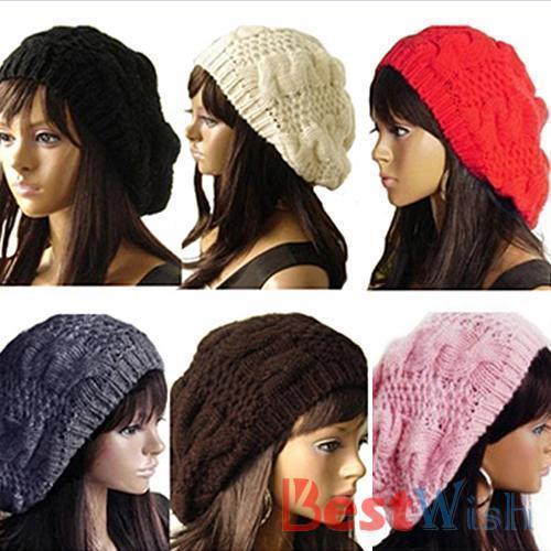 Mulheres Lady Beret trançado Baggy Beanie Crochet inverno quente Hat Cap Ski de malha de lã W35741