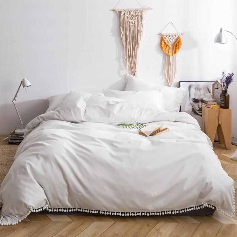 100 Cotton Bed cover Bedding set White Queen King size Bed Sheet Linen set Duvet Cover