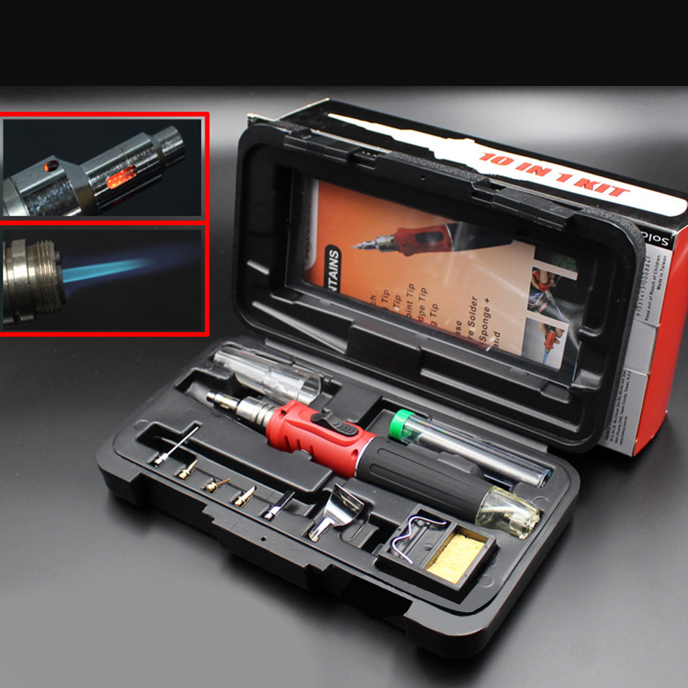10 in 1 Automatic Ignition Soldering Iron Set Portable Professional Welding Kit Torch Tool Automatic Ignition Function HS-1115K 1 set 10 in 1 portable professional automatic ignition soldering iron set welding kit torch tool automatic ignition function