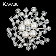 Fashion Wedding Brooches Pins Luxury Imitation Pearl Alloy Flower Brooch Pins For Women Brooches Jewelry Accessories Gifts