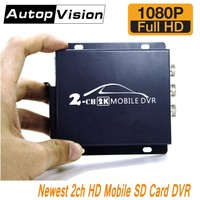 Newest 2CH AHD DVR Real time HD 1080P 2 Channel Mobile DVR support 128GB/CVBS/AHD 5.0MP mini bus vehicle DVR with remote control