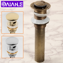 Sink Drain with Overflow Antique Bathroom Basin Pop Up Drain Strainer Gold Brass Vanity Vessel Sink Drain Stopper Water Drain shivers drain retro antique brass push down pop up drain no overflow 5712 floor drain bathroom kitchen basin sink bath drain