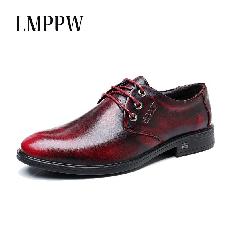 British Style Men Dress Shoes Genuine Leather Oxford Shoes Black Brown Wine Red Men's Wedding Shoes Pointed Lace-up Flat Shoes 8 2017 new oxford for men dress genuine leather black red office zapatos lace up pointed toe the trend of black leather shoes
