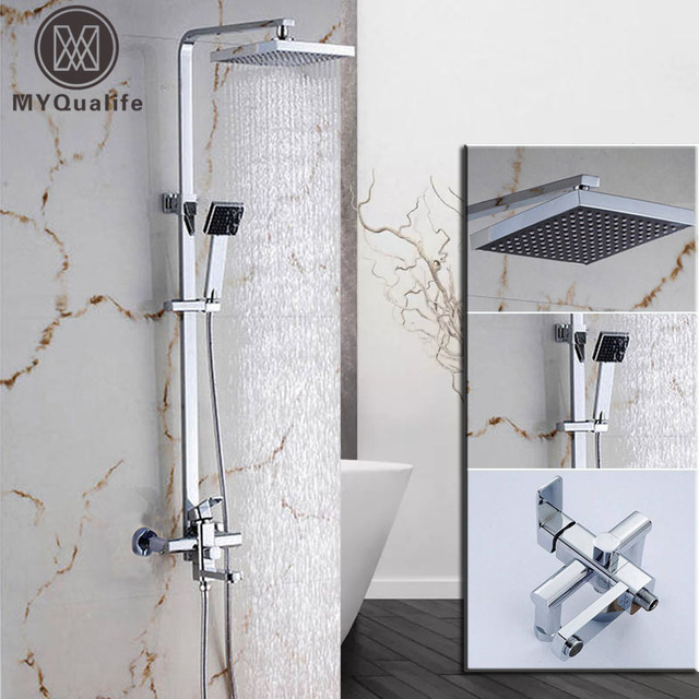 Chrome Finish Square Bathroom Shower Faucet Mixer Wall Mounted Shower  Column Units W/ Handheld Shower