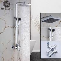 Contemporary Chrome Finish Square Bathroom Shower Column Units Shower Faucet Mixer W Handheld Shower