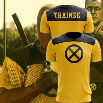 Deadpool 2 Printed Trainee Cosplay T shirt Superhero Yellow Slim Polyester Mens Short Sleeve O-Neck Tee Shirts Halloween Costume - DISCOUNT ITEM  30% OFF All Category