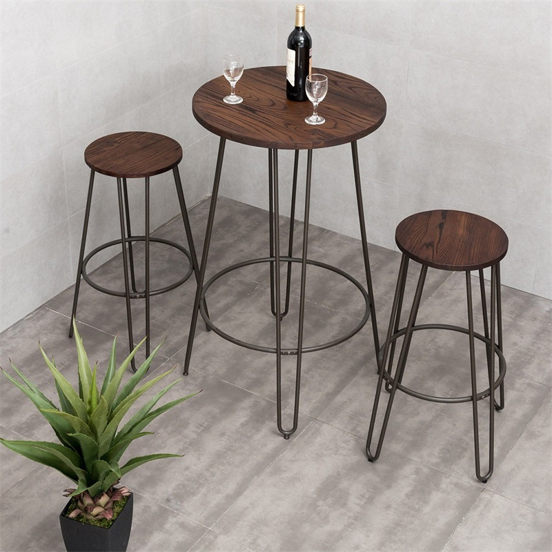 3 Pcs Wood Round Bar Table Bistro Stool Set HW59103