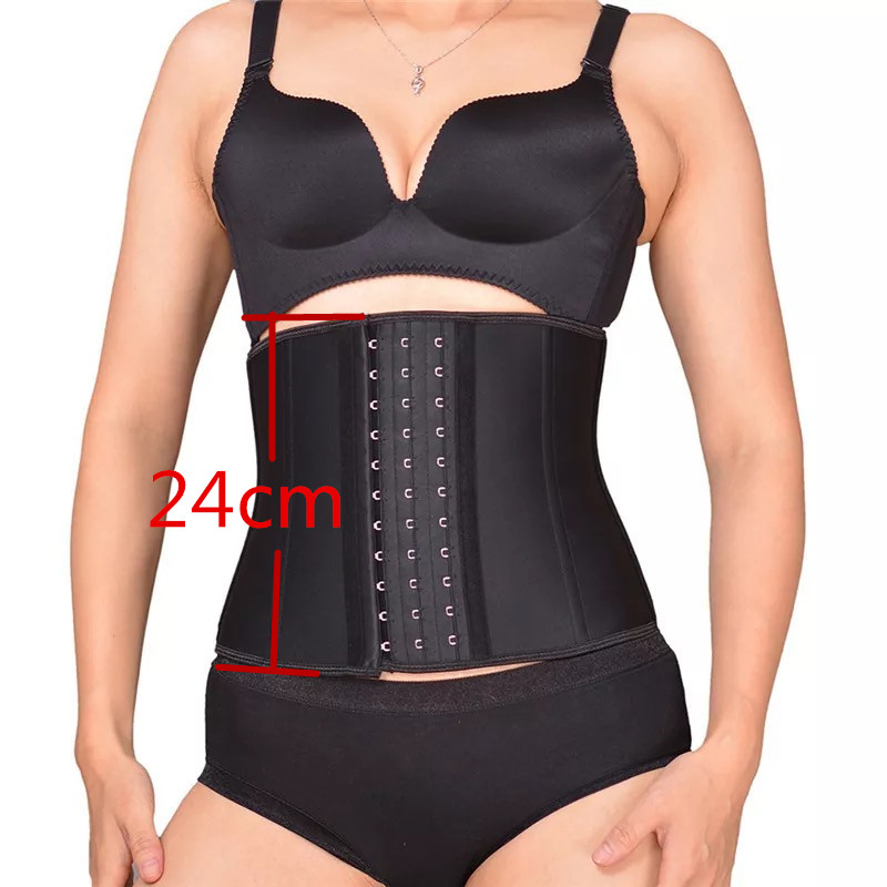 39e6cff444a 24cm short Latex Waist Trainer Corset 9 Steel Bone Workout Waist Cincher  Women Slim Body Shaper. Mouse over to zoom in