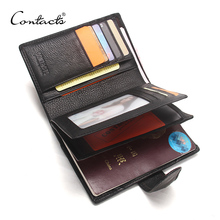 CONTACTS Genuine Leather Mens Wallets With Card Holder Passport Cover Mens Purse Portomonee Man Short Wallet PORTFOLIO Walet