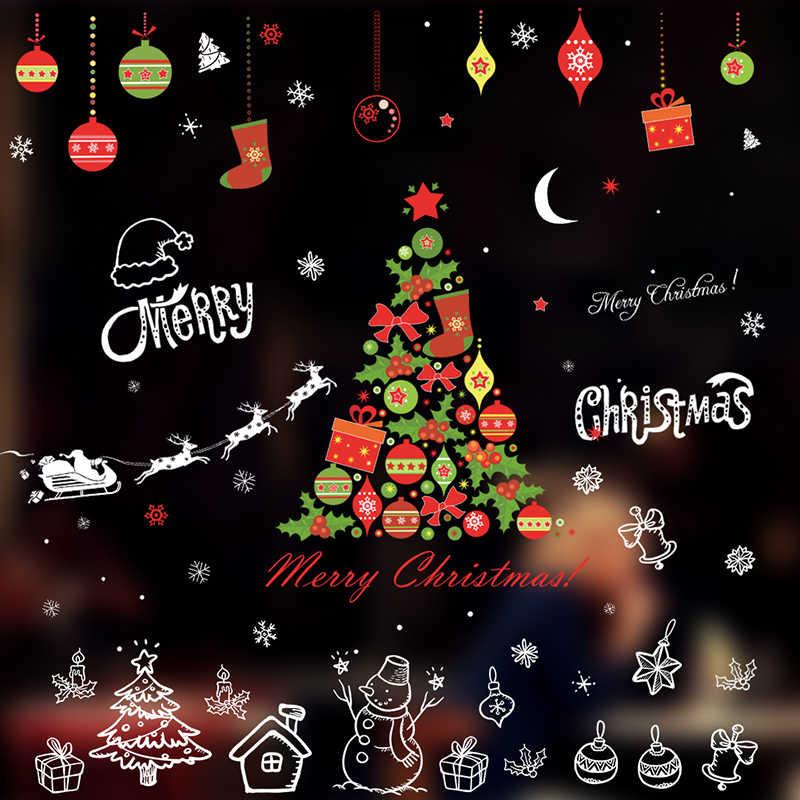 Merry Christmas Christian.Merry Christmas Tree Snowman Wall Stickers Christian Home Decoration Diy Pvc Shop Window Reindeer Xmas Festival Mural Art Decals