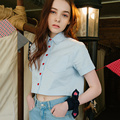 Lolita Casual Summer Women Shirt Short Sleeve Heart Button Blouse Solid College Loose Crop Top With Pockets