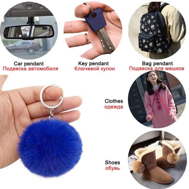 20 Colors Fluffy Fur Pom Pom Keychains Soft Faux Rex Rabbit Fur Ball Car Keyring Pompom Key Chains Women Bag Pendant Jewelry Diy