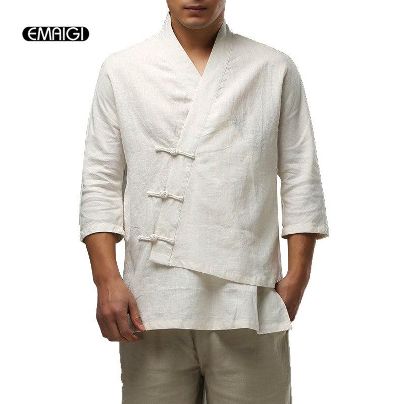 Haute qualité coton lin hommes T-shirt chine Style mâle décontracté lâche trois boutons asymétrique ourlet t-shirts, Q117