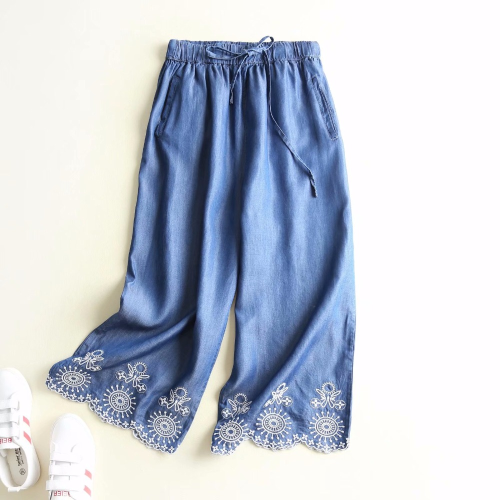 ZOGAA women elastic waist with bow knot tie floral embroidery weave edge   wide     leg     pants   casual streetwear tencel jeans trousers