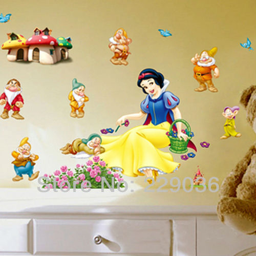 Diy Colorful Rooms: Colorful DIY Snow White And Dwarfs Cartoon Wall Sticker