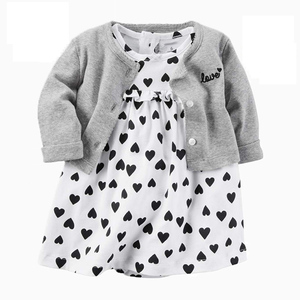 Newborn Infant Baby Girls Clothes Toddler Dresses Babe Girl Cardigan Bodysuit Dress 2019 Spring Summer Baby Girl Clothing Outfit(China)