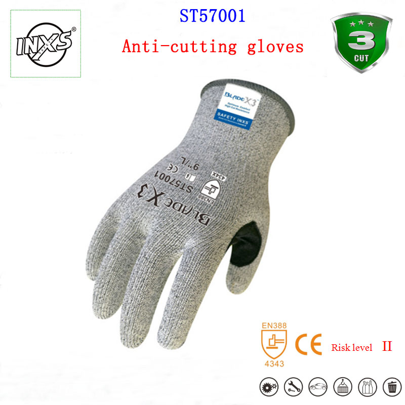 SAFETY-INXS ST57001 guantes corte knitting Wearable anti cut gloves Level 3 cut off EC certification standards protective gloves maritime safety