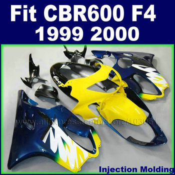 Customize Injection street fairing kits for HONDA 1999 2000 CBR600F4 CBR600 F4 CBR 99 00 600 F4 yellow blue motorcycle fairngs k