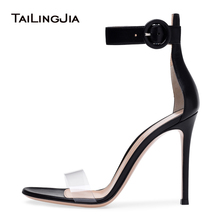 PVC High Heel Ankle Strap Sandals Elegant Strappy Heels Women Dress Shoes Ladies Covered Heel Summer Shoes Stilettos Plus Size недорого
