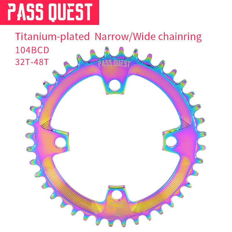40g/32T 104BCD Titanium Plated Chain Ring CNC Narrow Wide Chain Wheel 32T 48T  colored mountain bike wheels|Bicycle Crank & Chainwheel| |  - title=