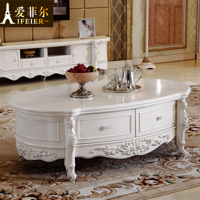 Continental carved marble coffee table combination of solid wood tv cabinet minimalist size - Apartment size living room furniture ...