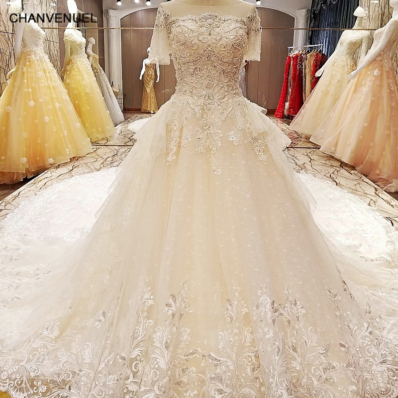 Real Maine Weddings 2017: LS64210 Wedding Gowns 2017 With Long Train Short Sleeves