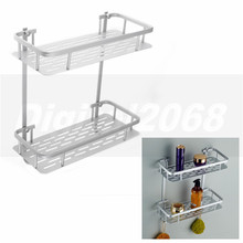 Silver Rectangle 2 Tiers Aluminium Shower Bathroom Accessories Storage Holder Shelf Rack Hooks 36*31*14CM Free Shipping