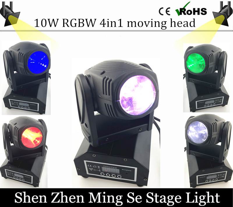 New Seer 10W RGBW 4in1 moving head DMX512 light beam LED spot Lighting Show Disco DJ Laser Light 10w mini led beam moving head light led spot beam dj disco lighting christmas party light rgbw dmx stage light effect chandelier