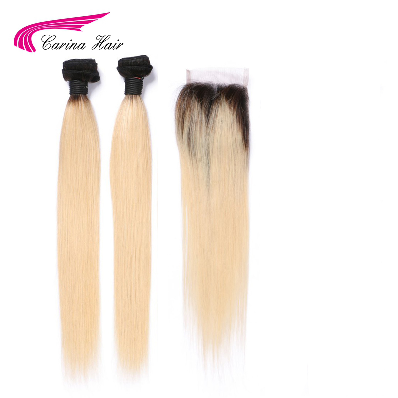 Carina Hair Brazilian Straight Hair Bundles Hair with Top Closure Dark Root 613 Remy Human Hair Weft 2 Pcs with 4*4 Lace Closure ...