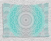 Grey and Turquoise Tapestry, Primitive Spiritual Essence and Universe Harmony Mandala Ombre Art, Wall Hanging Tapestry