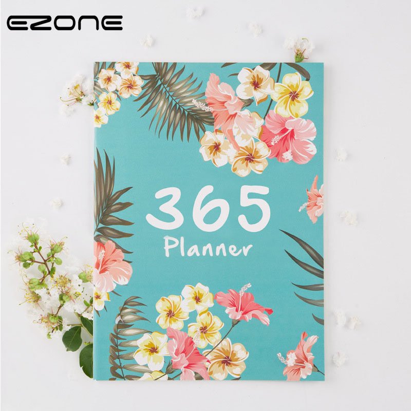 EZONE 365Days Flowery Weekly Journal Notebook Floral Plan Agenda Stationery A4 Note Book Personal Diary Students School Supplies