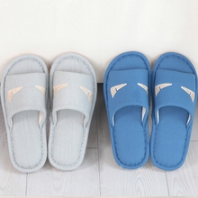 linen cotton slippers indoor wooden floor a couple Habitat home in spring and autumn men's non-slip sandals and slippers female