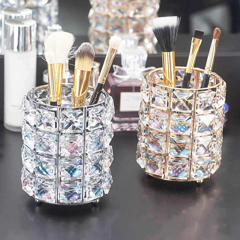 Crystal Pen Holder Makeup Brush Storage Dressing Table Beauty Brush Eyebrow Pencil Storage Cosmetic Brush Organizer