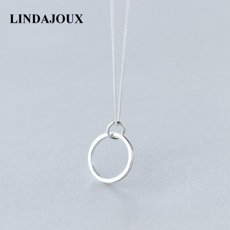 834c69920 LINDAJOUX 925 Plata triángulo/redondo/cuadrado geométrico COLLAR COLGANTE  para las mujeres-plata esterlina-joyería cadena