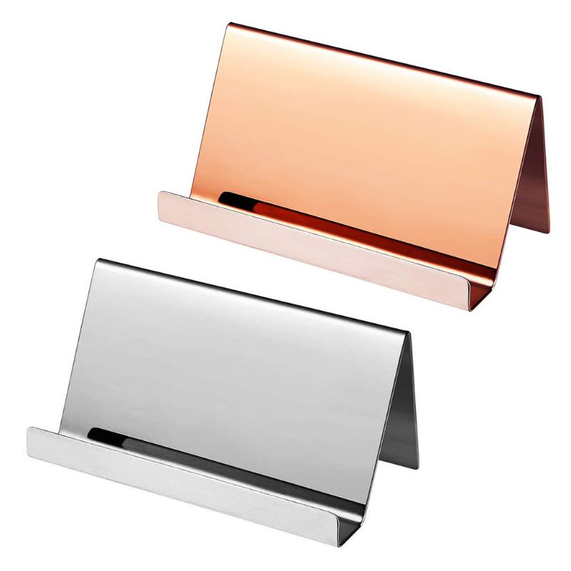 High-End Stainless Steel Business Name Card Holder Display Stand Rack Desktop Table Organizer