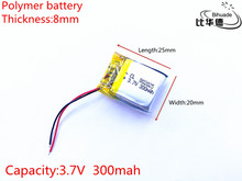 Liter energy battery 3.7V 300mAh 802025 PLIB polymer lithium ion / Li-ion battery for dvr GPS mp4 mp3