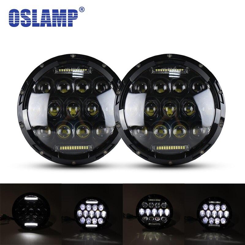 Oslamp 2pcs 7inch 75W Hi Lo Beam LED Headlight Bulb 12V Truck Headlamp H4 H13 Led