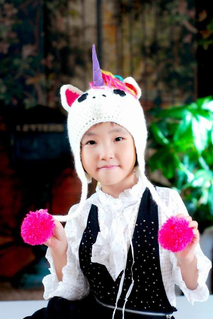 cf149bfadae New Unicorn Pegasus Cartoon Crochet Hat Toddlers Headwear Kids Knitted  Beanie Earflaps Cap Free Shipping