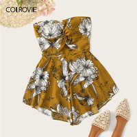 COLROVIE Ginger Floral Print Twist Tie Back Tube Boho Romper Women Playsuit 2019 Summer Holiday Strapless Girly Short Jumpsuit