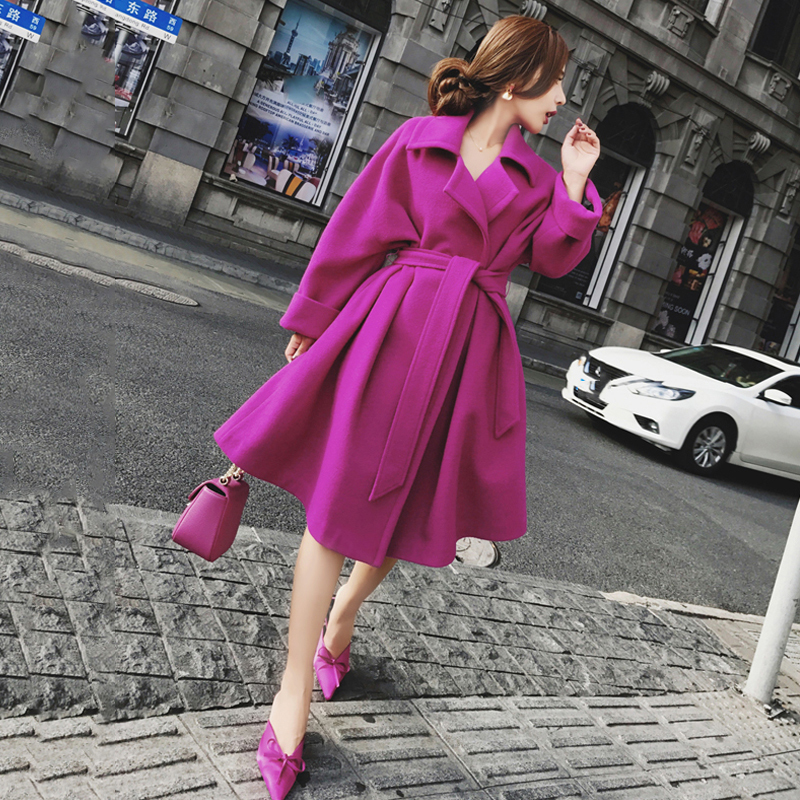 2018 Autumn Winter New Fashion Women Purple Slim Woolen   Trench   Turn-down Collar Long Sleeve Sashes Medium Long Overcoat Outwear