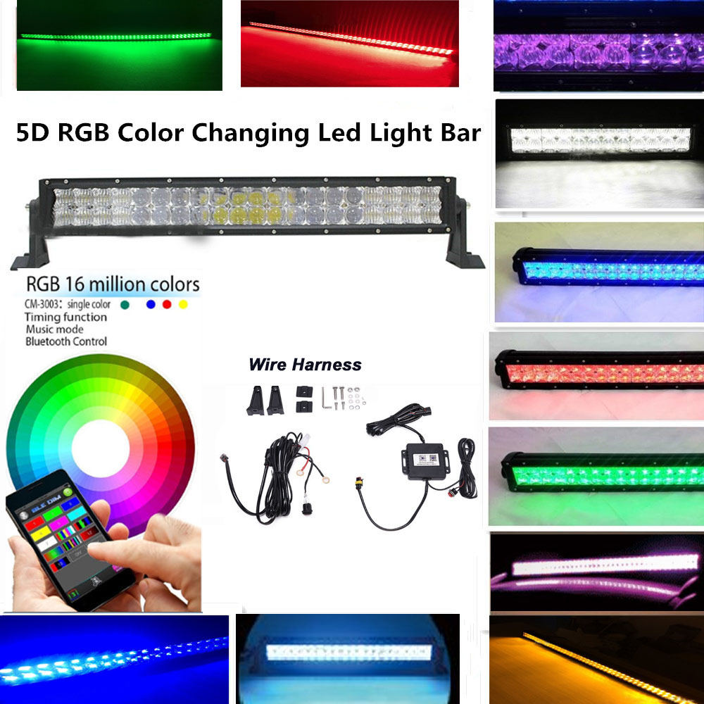 honzdda 22 120w 5d rgb led light bar bluetooth app control many colors changing strobe light bar offroad for suv atv truck [ 1000 x 1000 Pixel ]