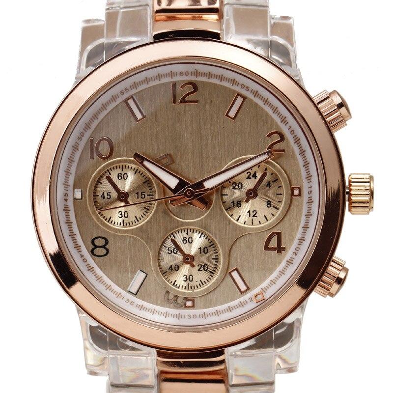 2016 Women Dress Watches Luxury Brand Rose Golden Case Crown Multi Sub-Dial Deco Resin Strap Ladies Gift Quartz Wristwatches